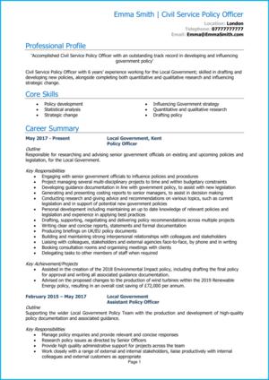 Civil service CV example