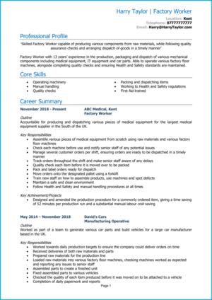 Factory Worker CV