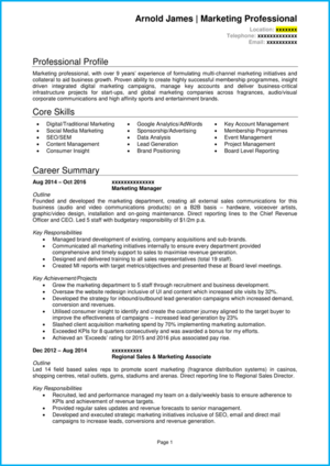 Marketing manager CV example