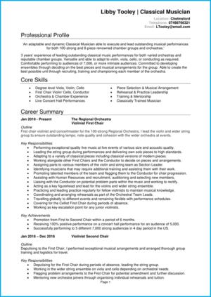 Musician CV example
