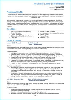 Self employed CV example