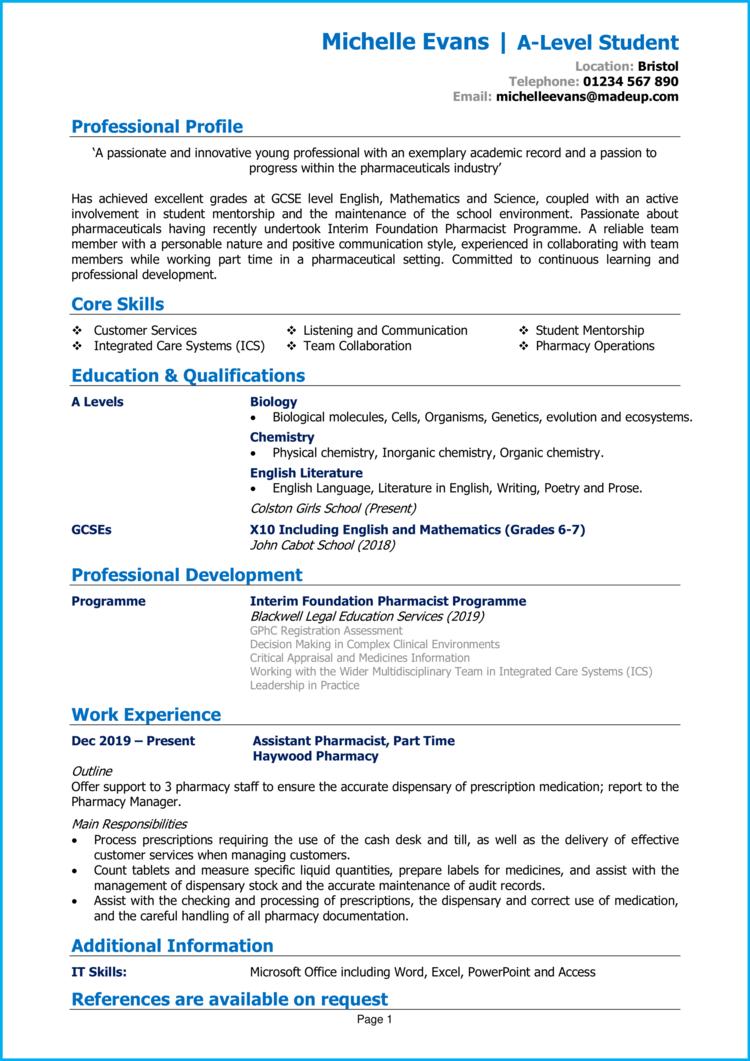 College leaver CV