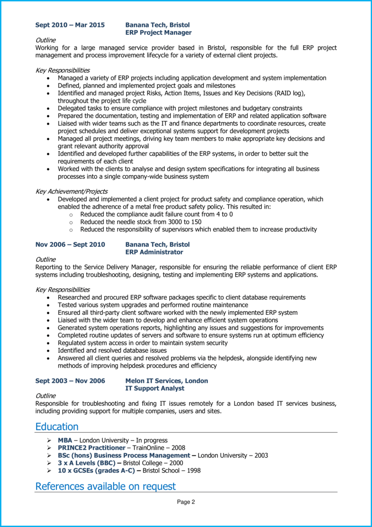ERP Project Manager CV 2