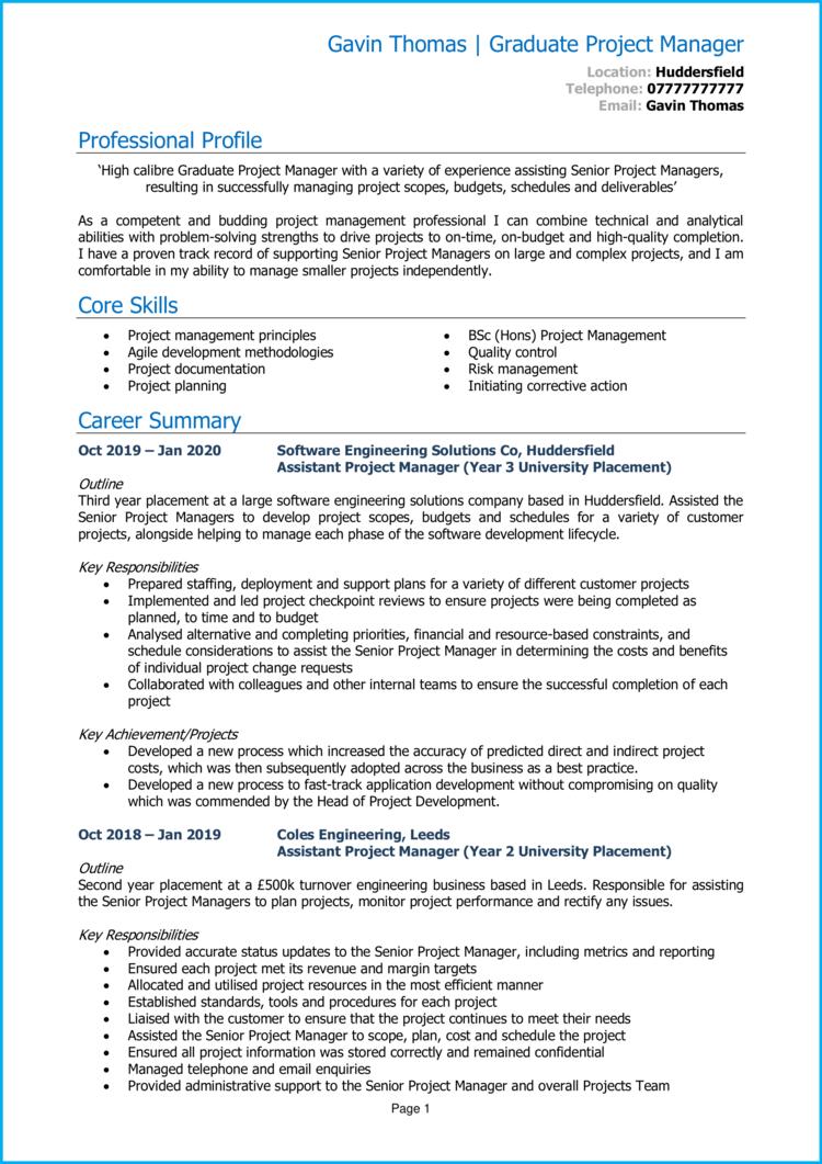 Graduate Project Manager CV 1