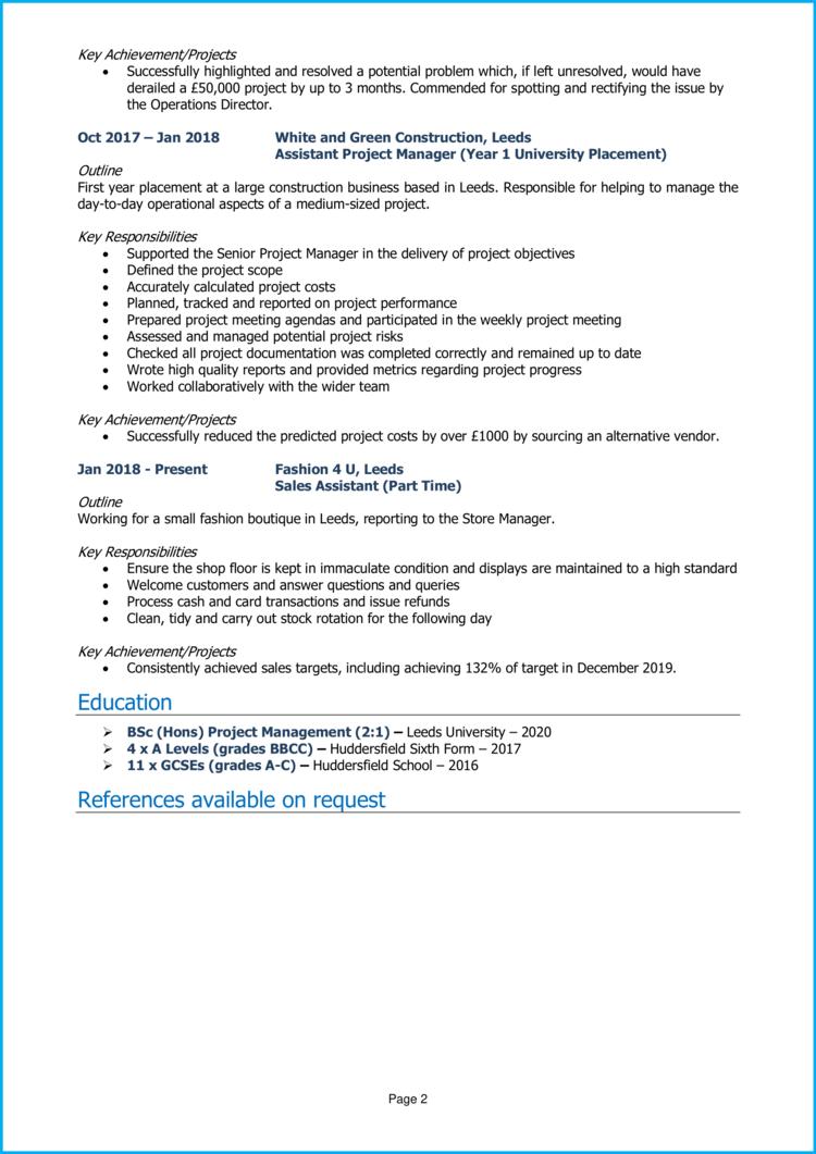 Graduate Project Manager CV 2