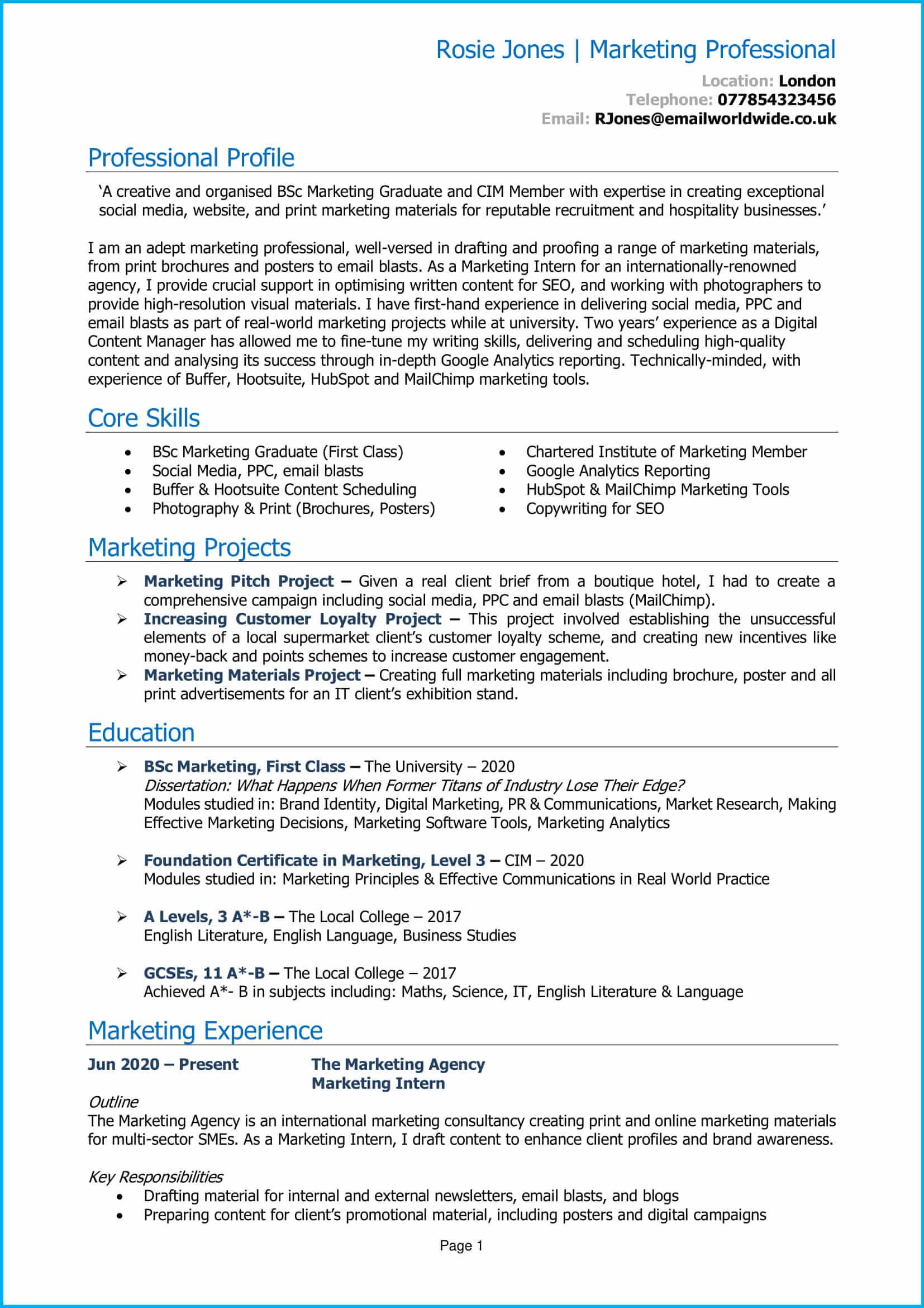 Marketing Graduate CV 1