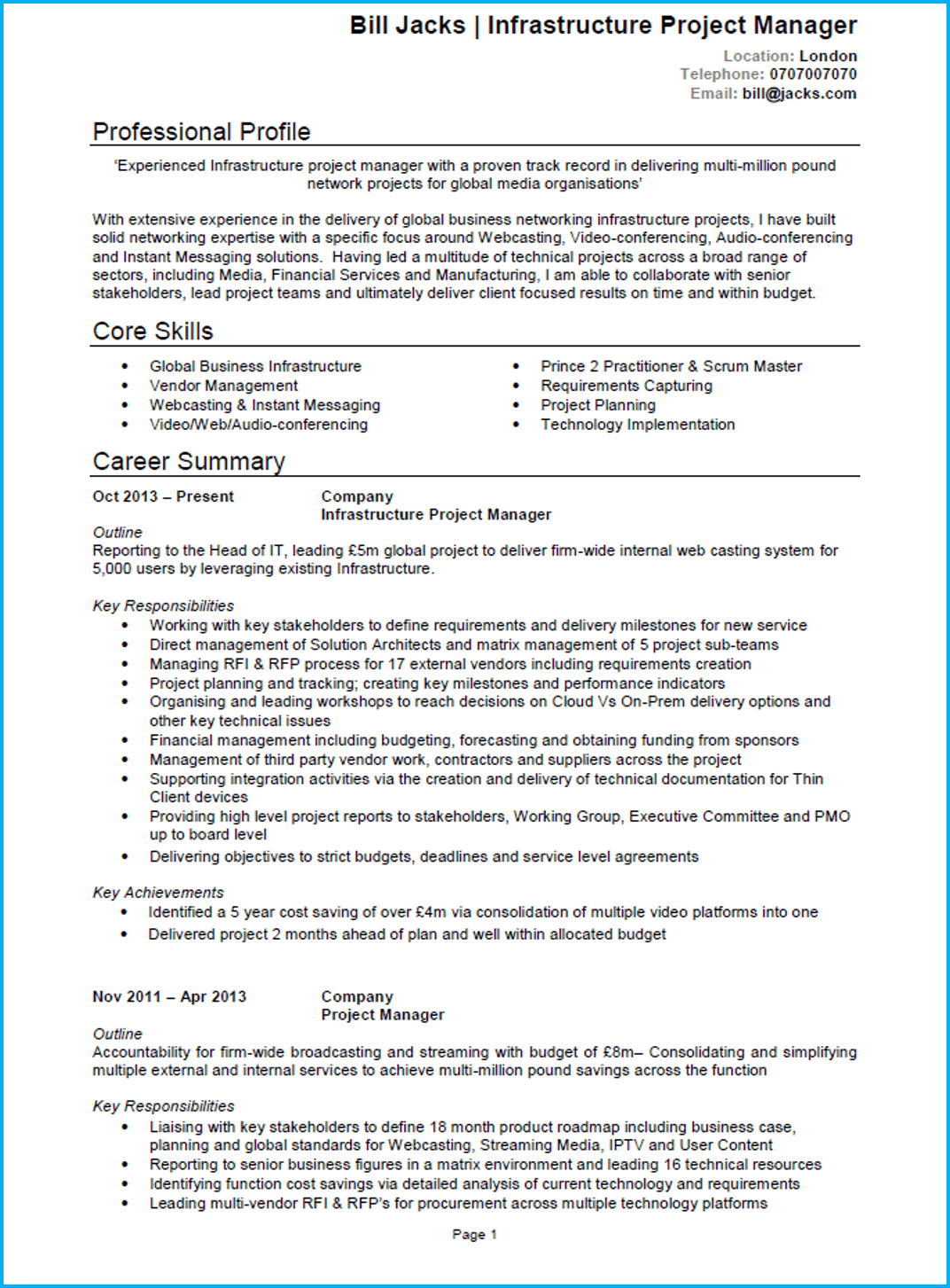 Project manager CV 1