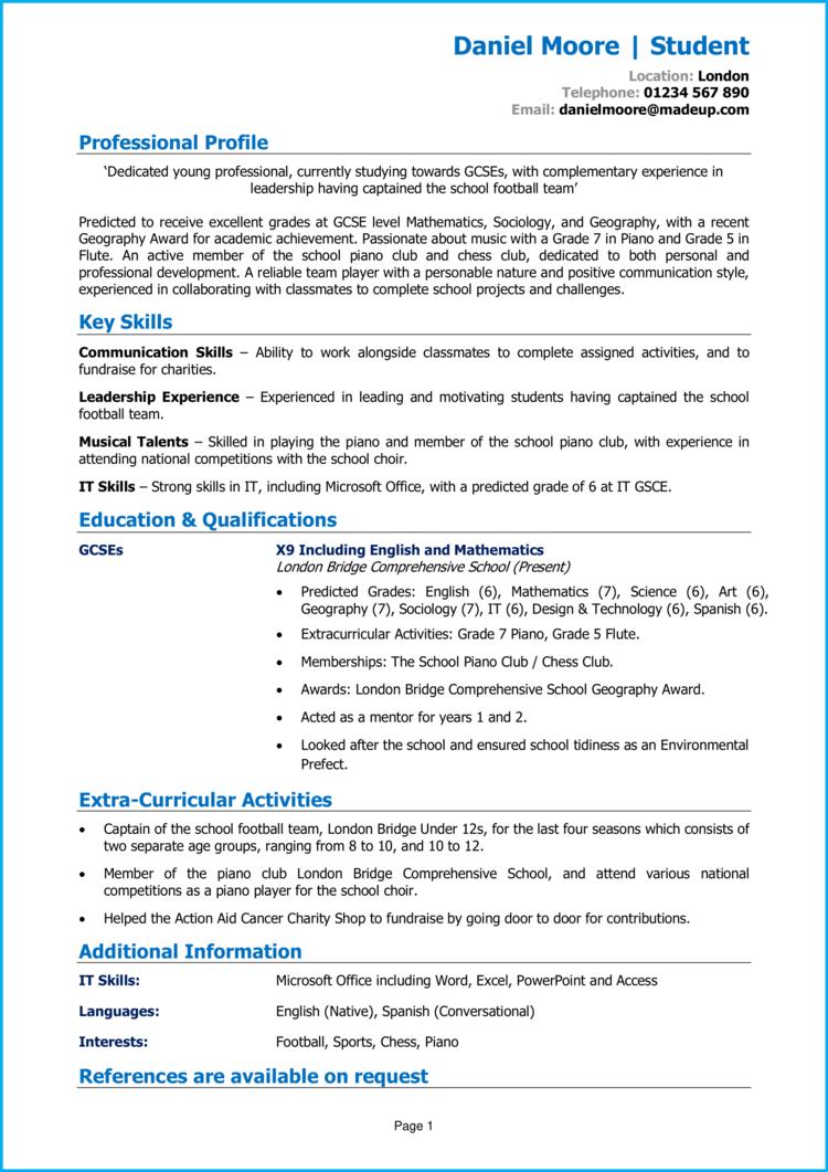 School leaver CV no experience