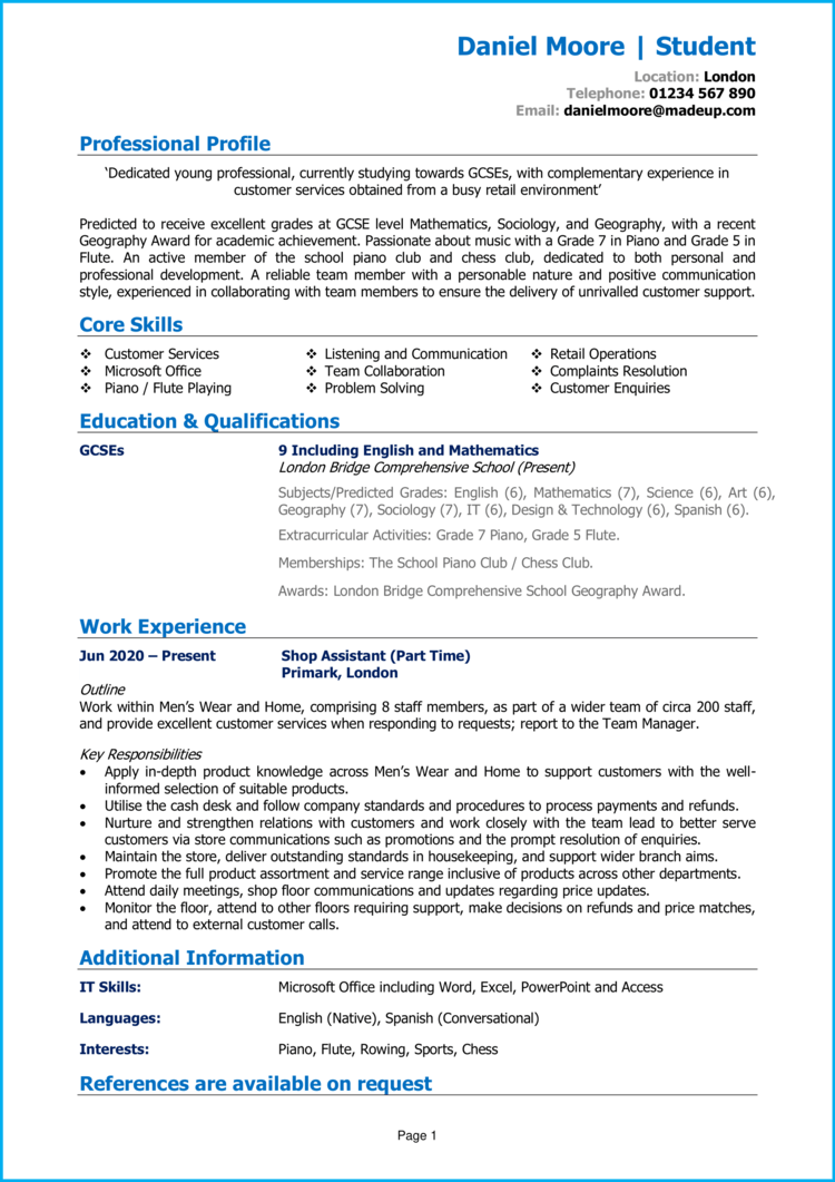 School leaver CV with experience