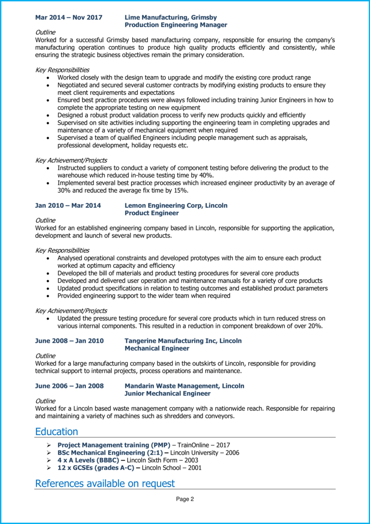 Technical Project Manager CV 2