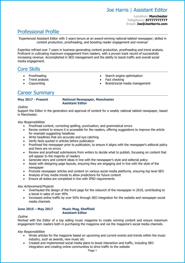 Assistant Editor CV 1