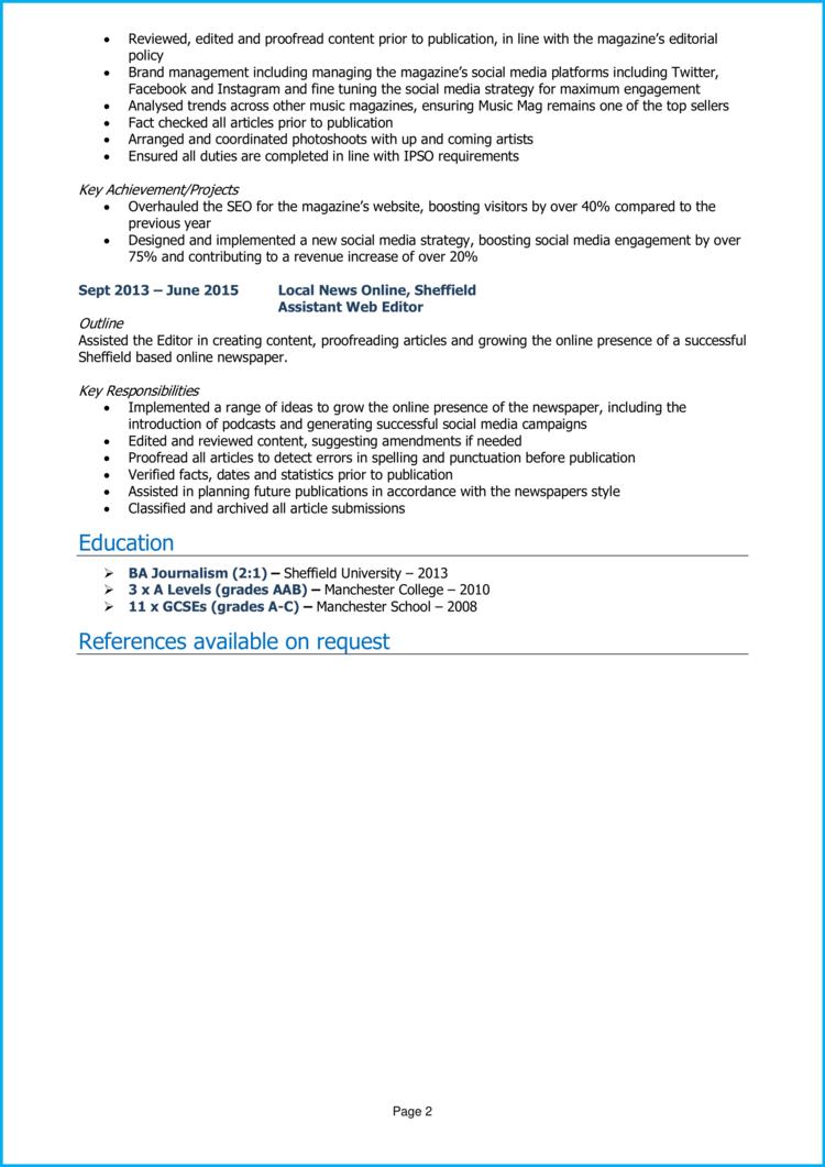 Assistant Editor CV 2