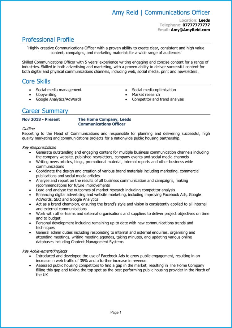 Communications Officer CV 1
