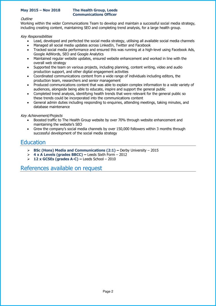 Communications Officer CV 2
