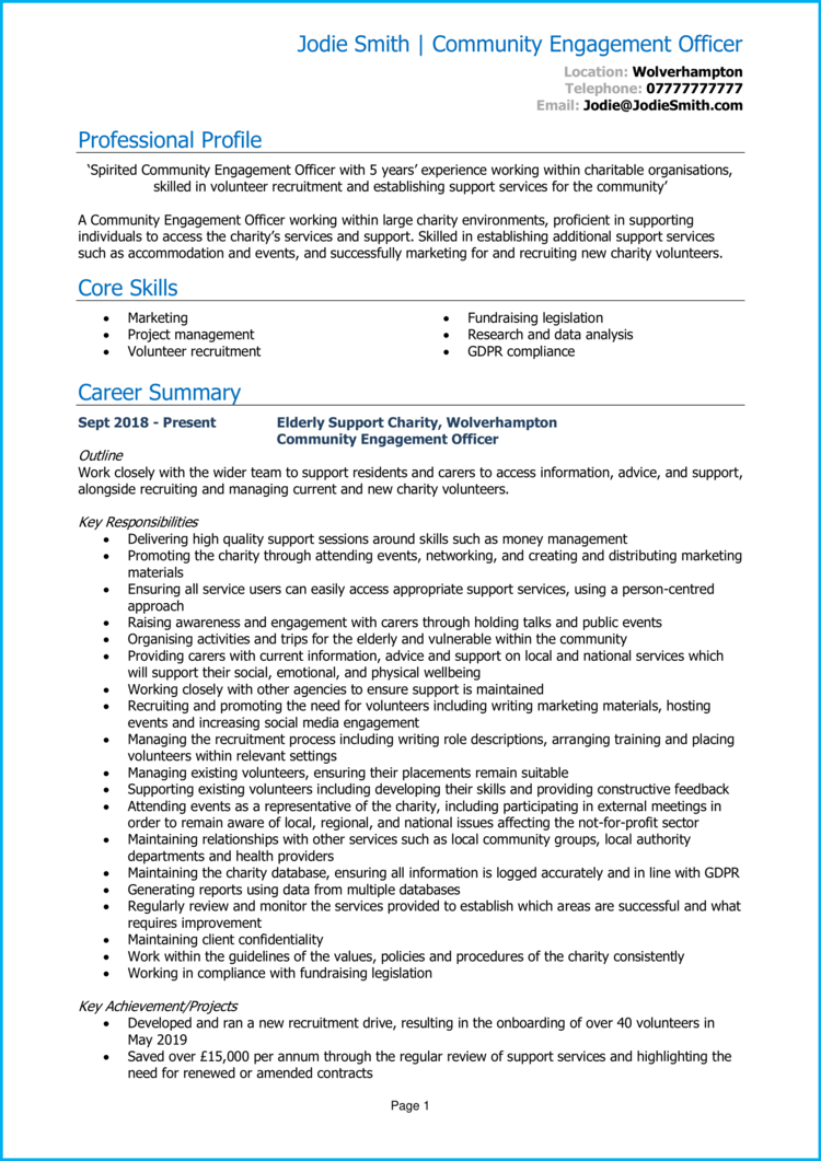 Community Engagement Officer CV 1