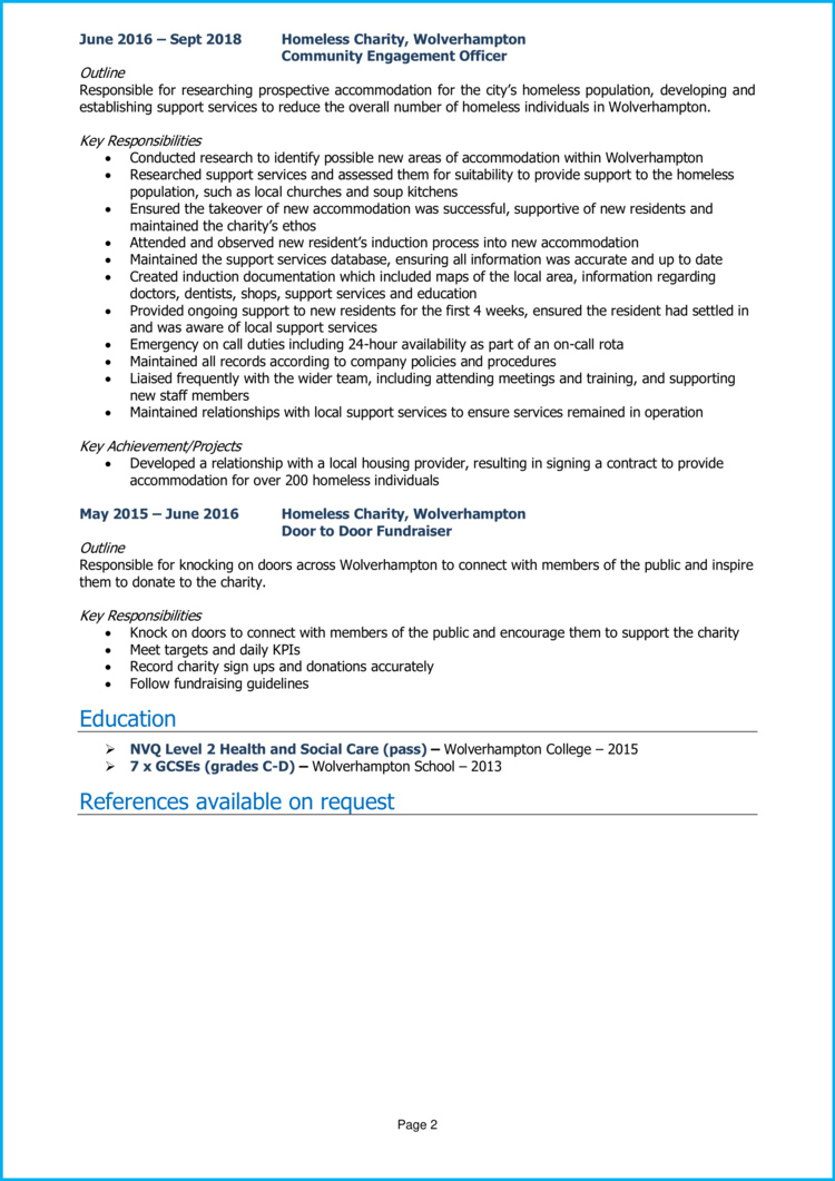Community Engagement Officer CV 2