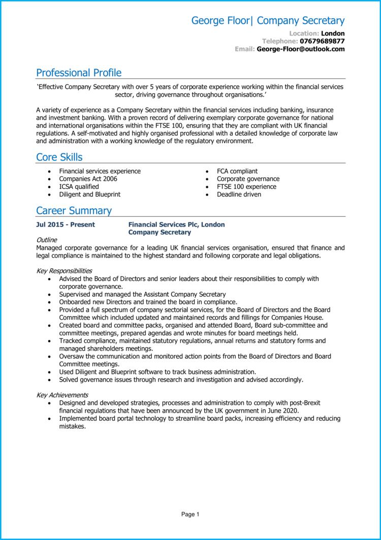 Company Secretary CV 1