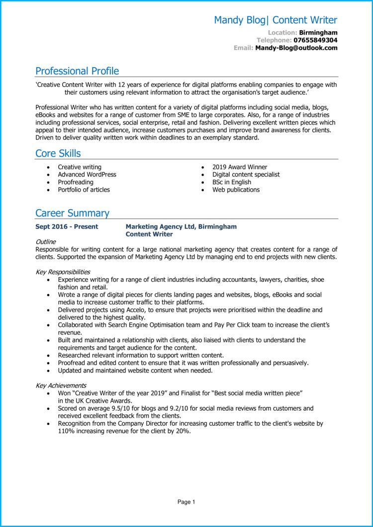 Content Writer CV 1