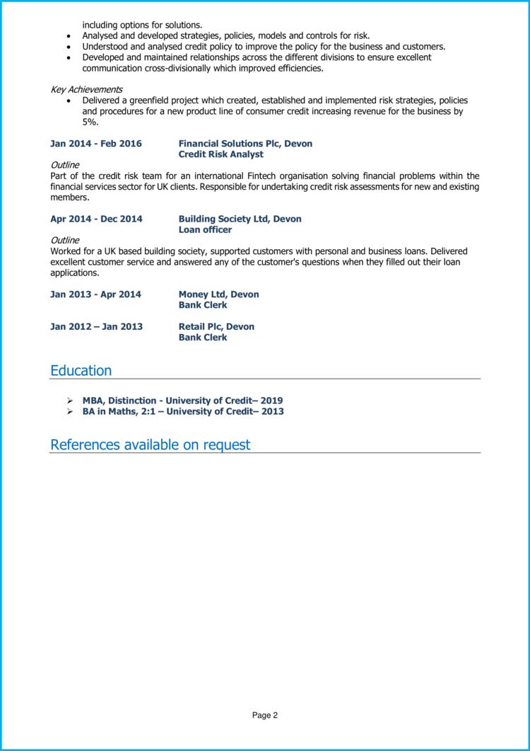 Credit Risk Analyst CV 2