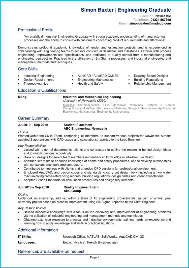 Engineering Graduate CV 1
