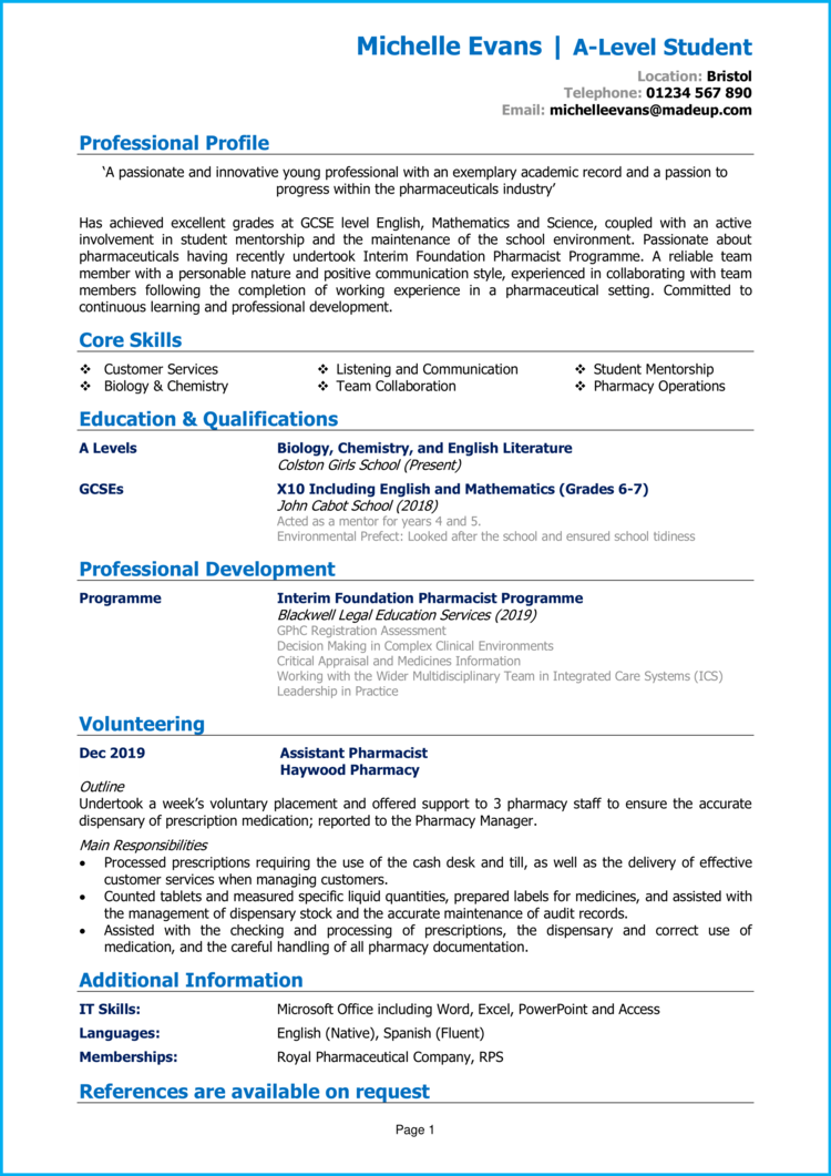 Entry Level CV 1