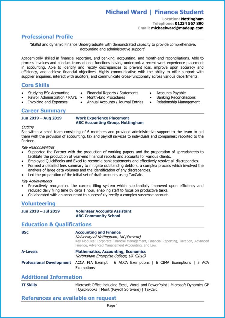 Finance Student CV 1