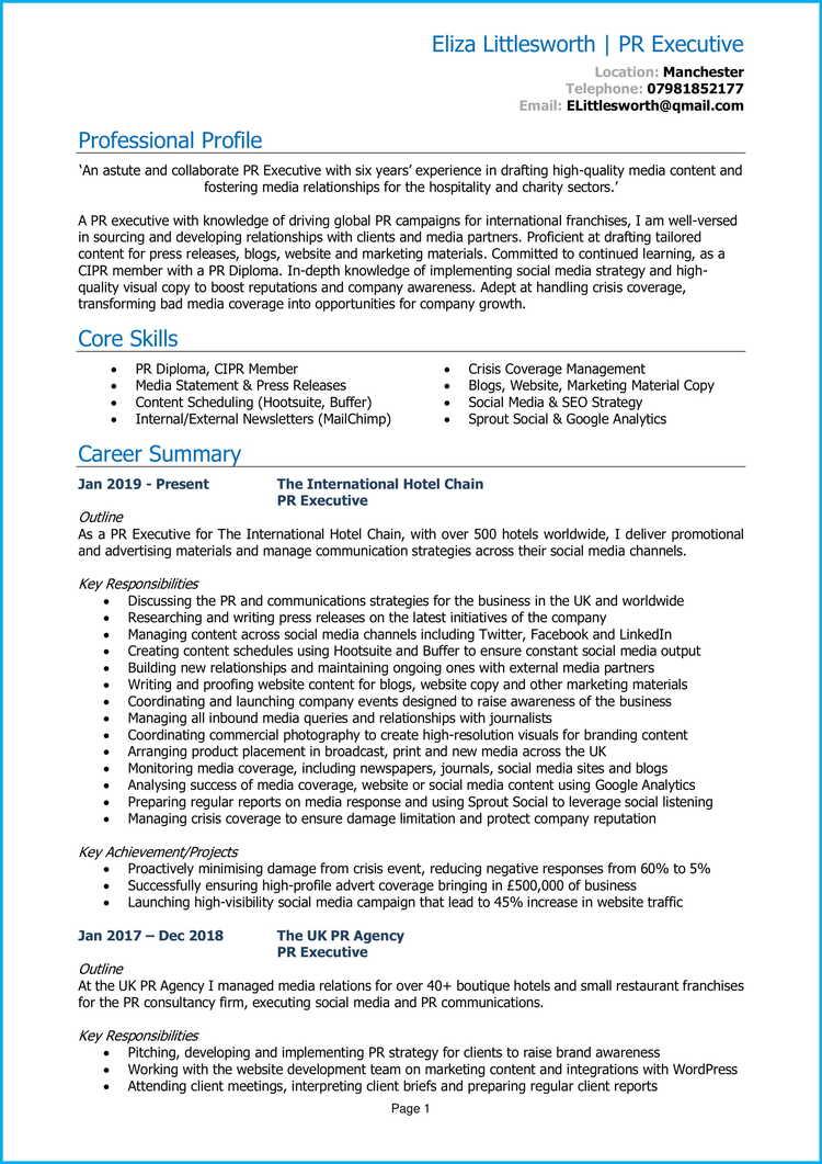 PR Executive CV 1