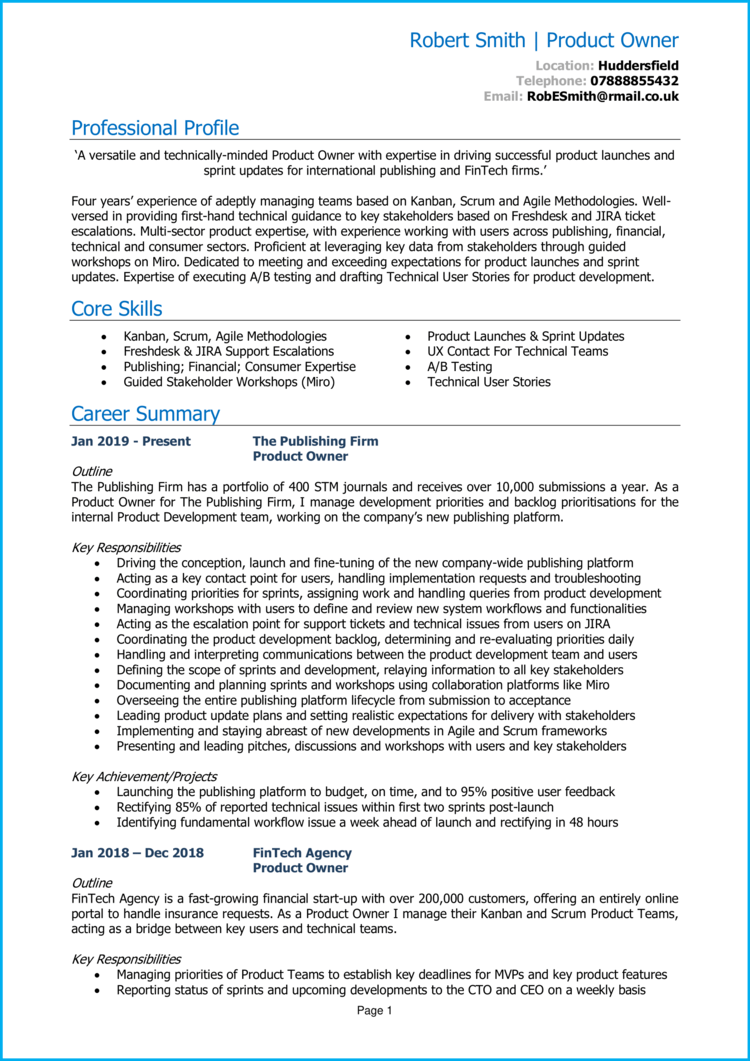 Product Owner CV 1