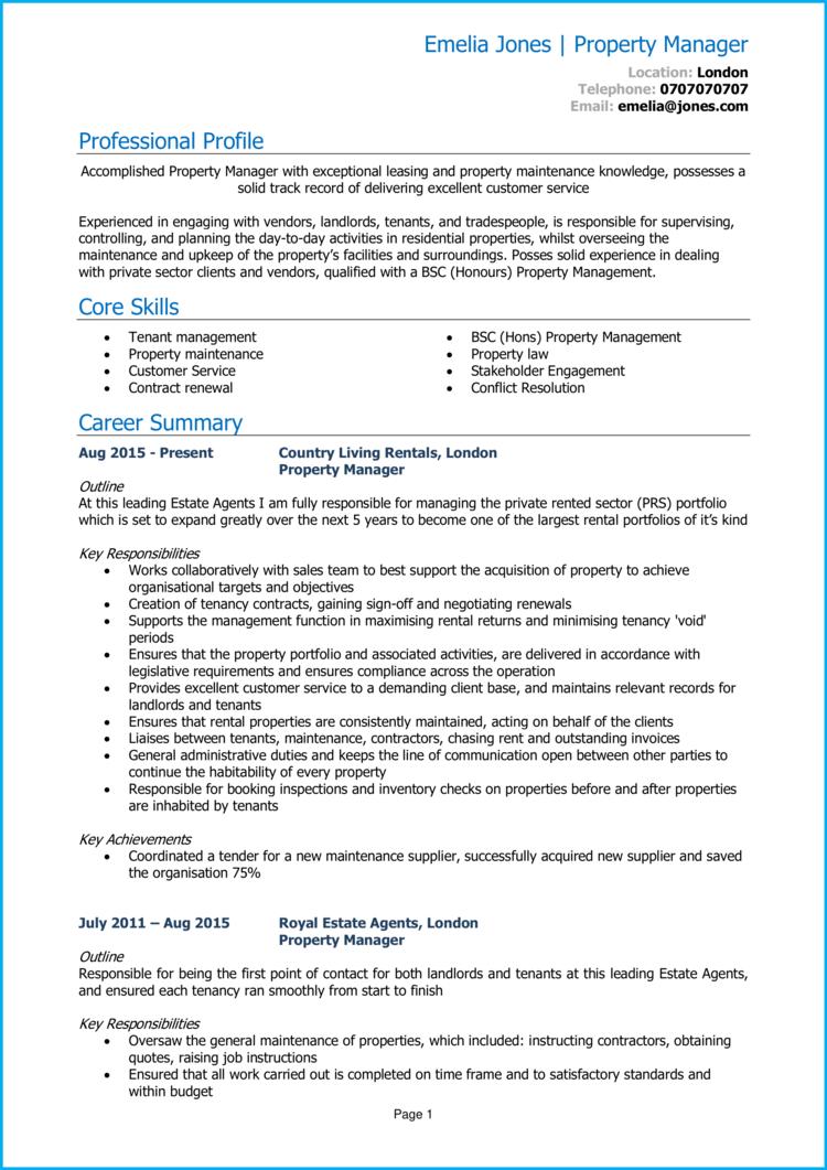 Property manager CV 1