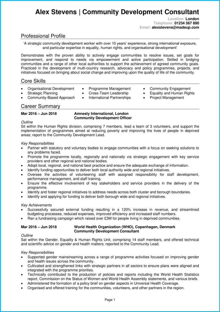 Community Development Worker CV 1
