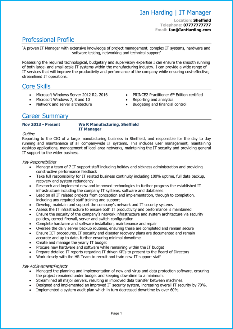 IT Manager CV 1