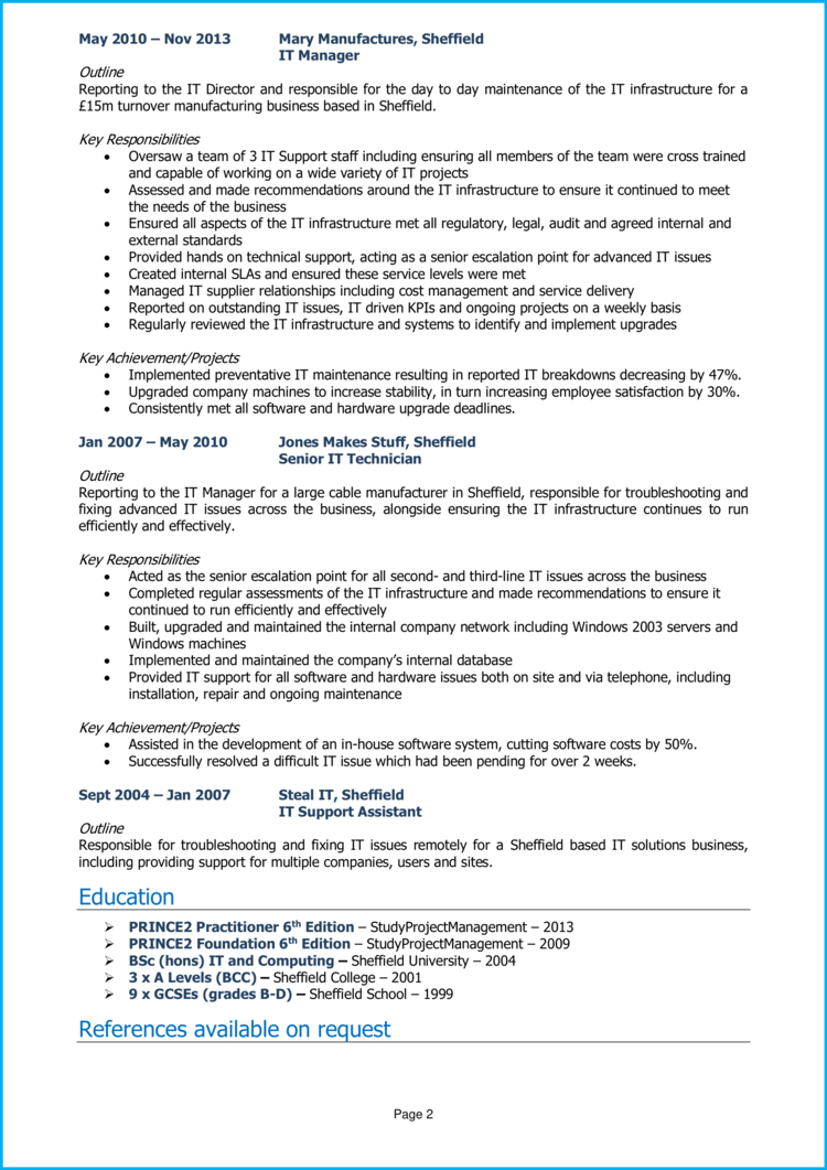 IT Manager CV 2
