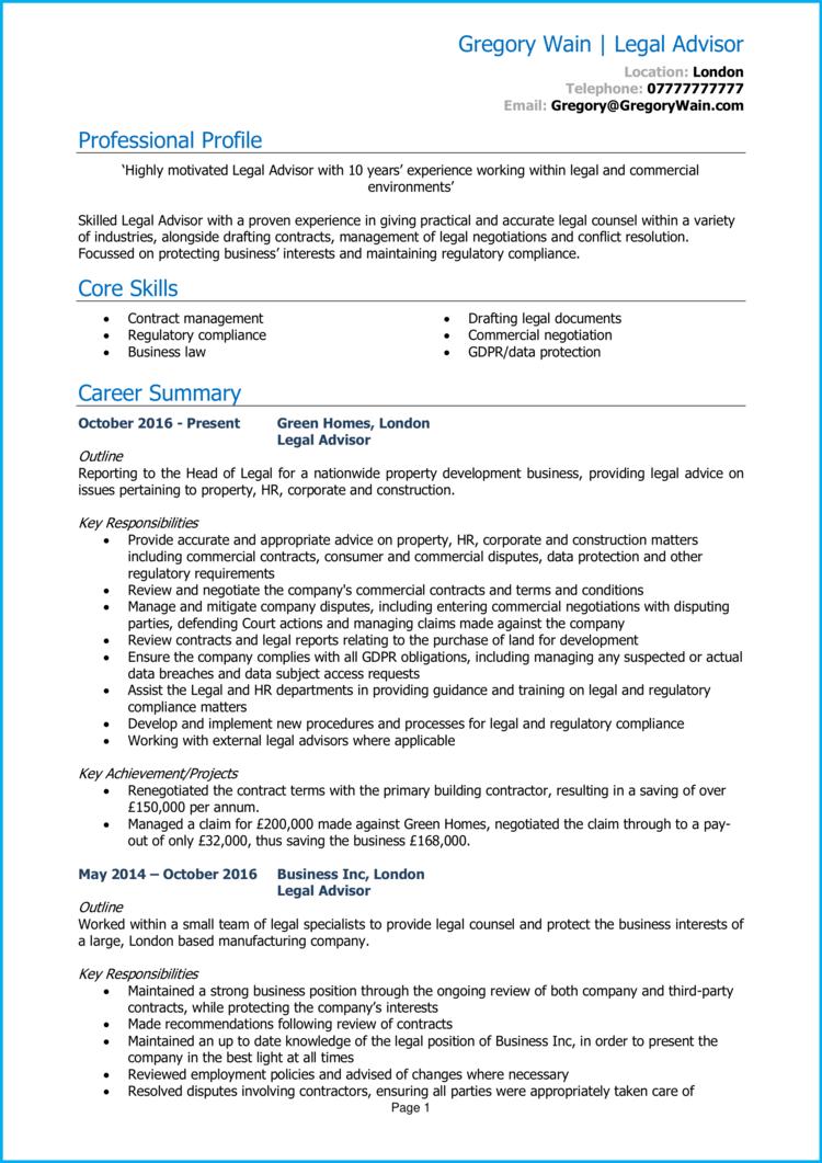 Legal Advisor CV 1