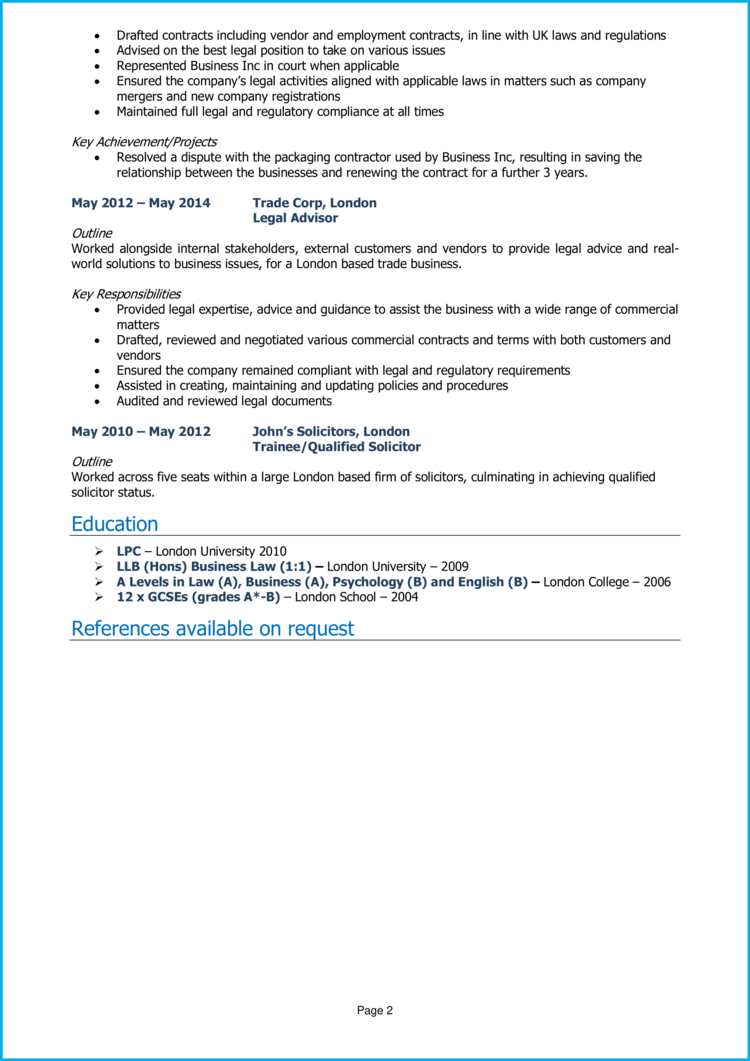 Legal Advisor CV 2