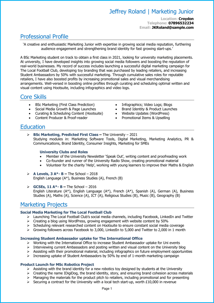 Marketing Placement CV 1