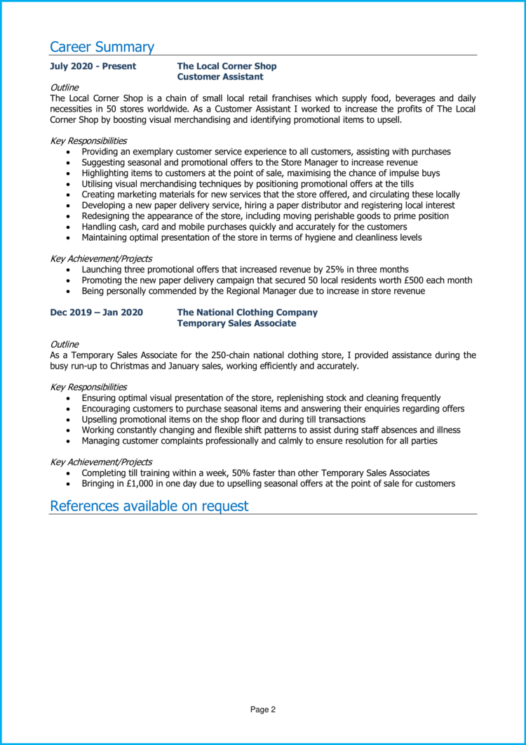 Marketing Placement CV 2