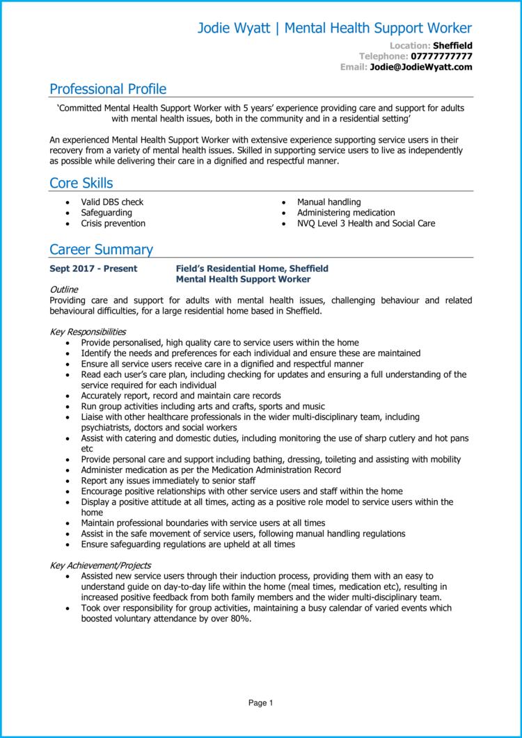 Mental Health Support Worker CV 1