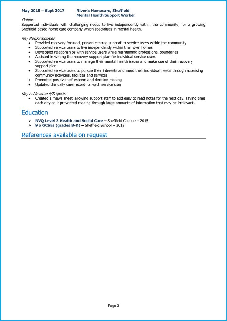 Mental Health Support Worker CV 2