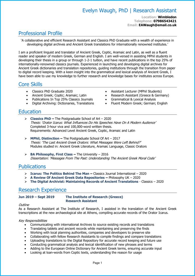 PhD Graduate CV 1