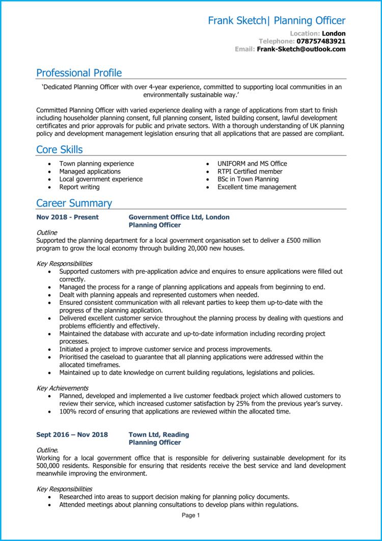 Planning Officer CV 1