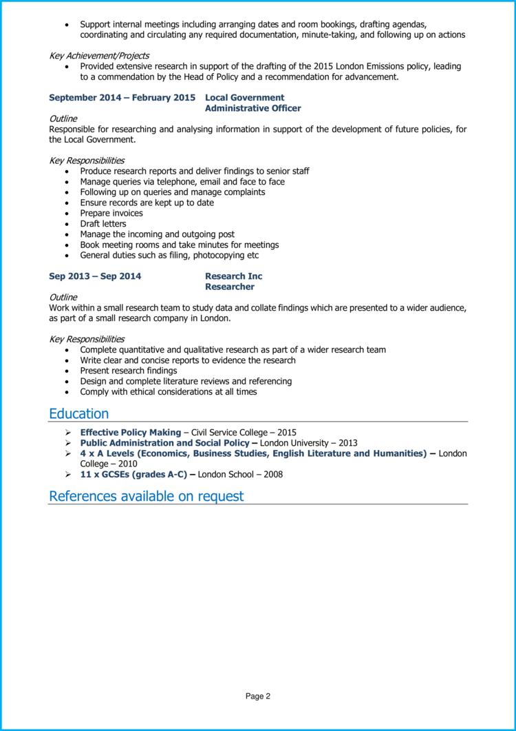 Policy Officer CV 2
