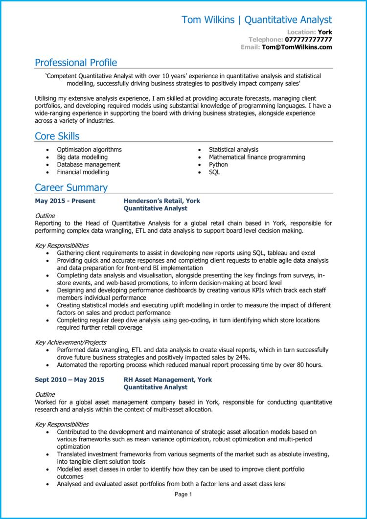 Quantitative Analyst CV 1