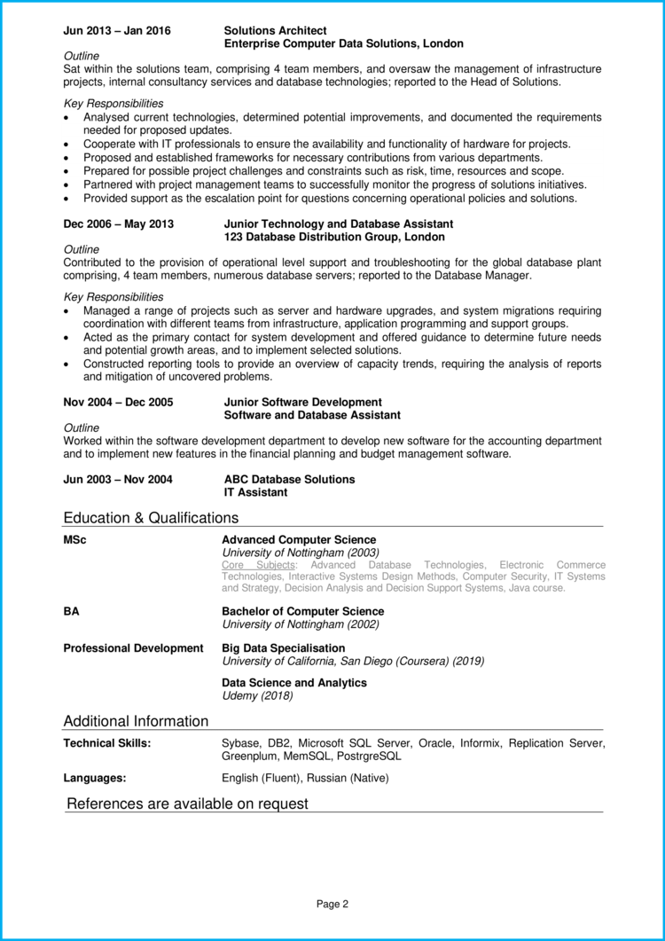 Solution Architect CV 2