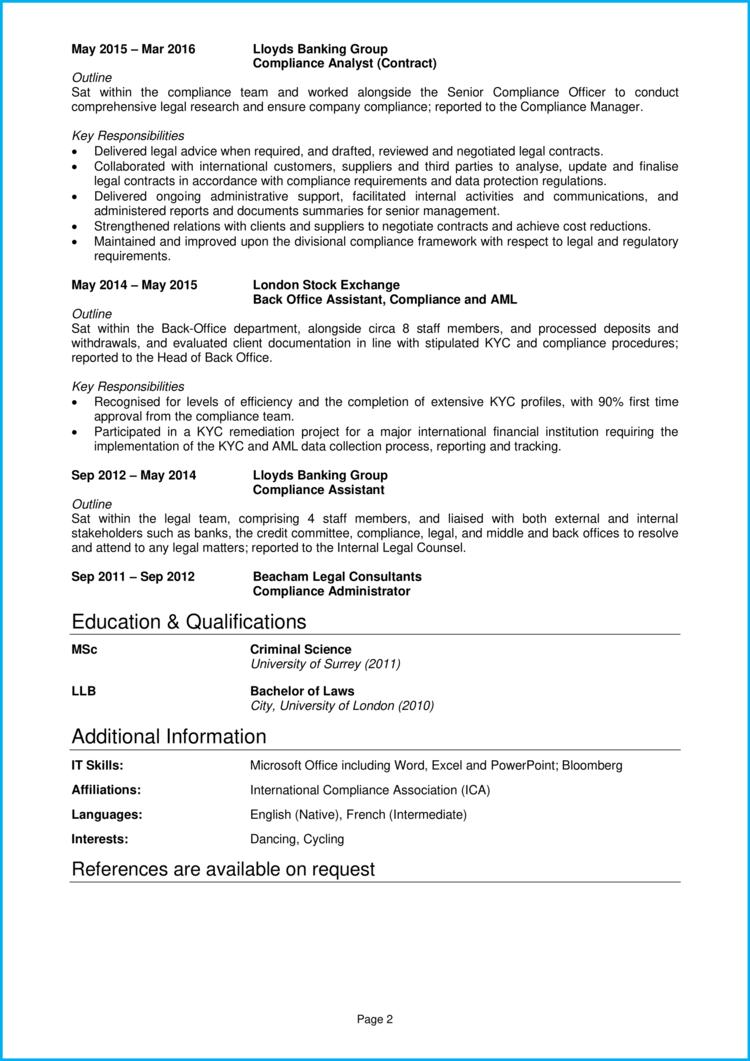 Compliance Officer CV 2