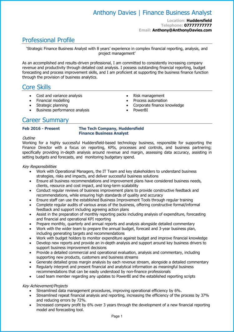 Finance Business Analyst CV 1