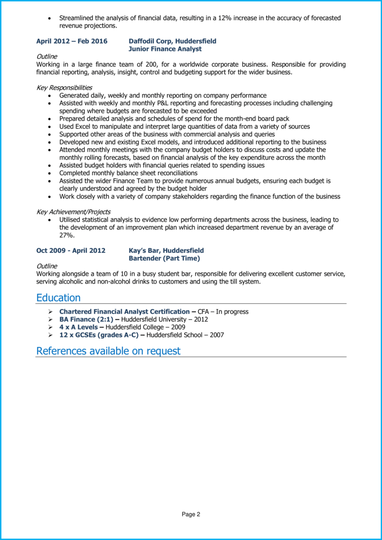 Finance Business Analyst CV 2