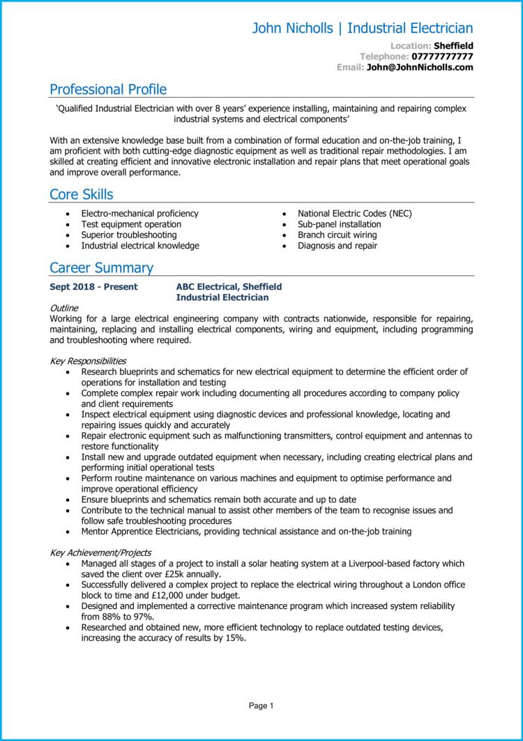 Industrial Electrician CV 1