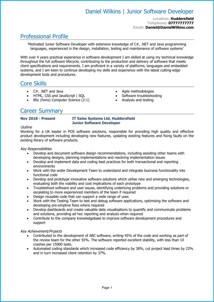 Junior Software Developer CV 1