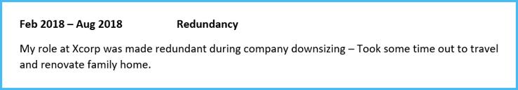 Redundancy career gap