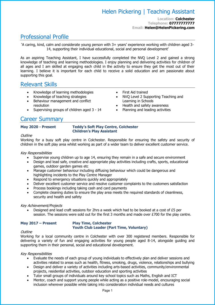 Teaching Assistant with no experience CV 1